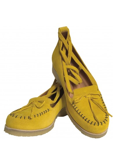 Grace Yellow Black Crepe Sole