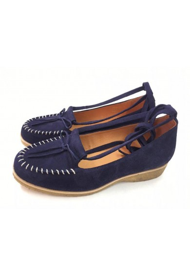 Grace Navy Blue Suede Crepe Sole
