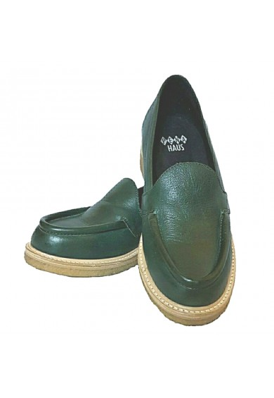 Audrey Loafers Green Leather Crepe Sole