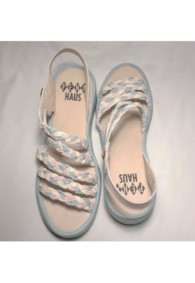 Rita Pastel Blue, Pink, White Leather