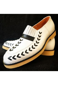 Jupiter White Leather with Black Arrows