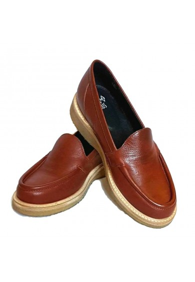 Audrey Loafers Brown Leather Crepe Sole