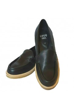 Audrey Loafers Black Leather Crepe Sole