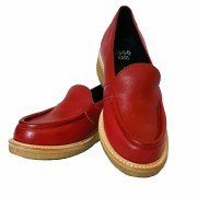 Audrey Loafers Red Leather Crepe Sole