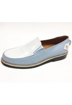 Orbit Light Blue and White Leather