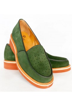 Dot Green Suede