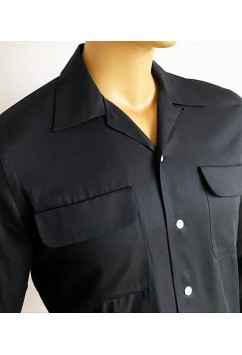 Gabardine  Flap Pocket Black