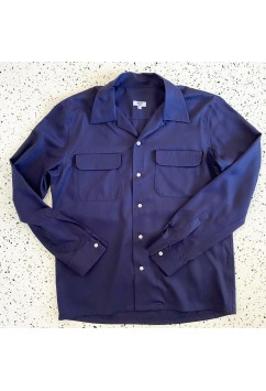 Flap Pocket Navy Blue Gabardine