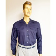 Gabardine Flap Pocket Navy Blue