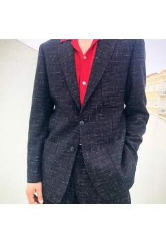 Suit Black w/ Red & White Flecks