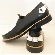 Orbit Black and White Leather