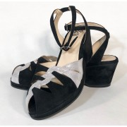 Sara Black Suede with Silver