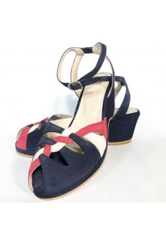 Sara Navy Suede with Red and White